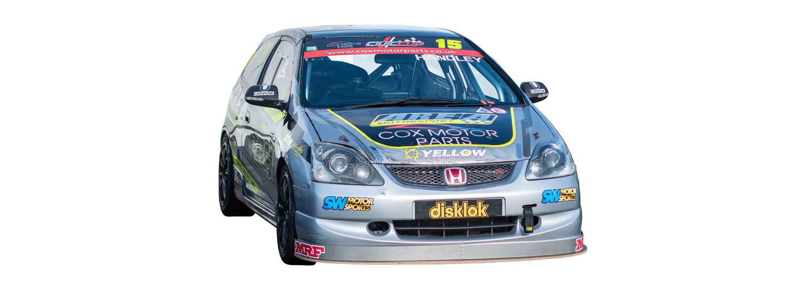 Isolated racing car. Isolated silver Honda Civic racing car stock images