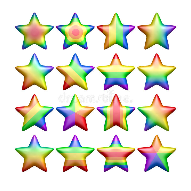 Isolated rainbow color stars stock illustration