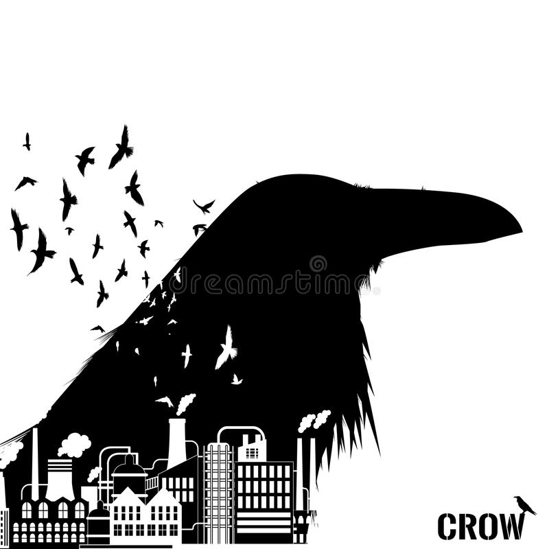 Isolated raven head silhouettes with double exposure effect. vector illustration