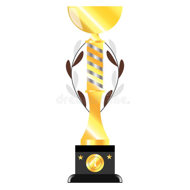 Isolated realictic gold cup , Vector image illustration royalty free illustration