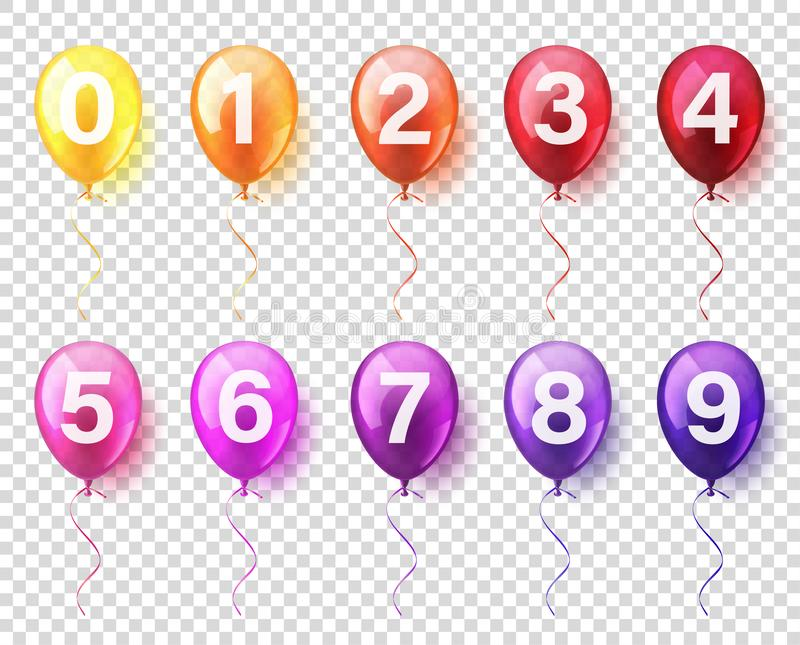 Isolated Realistic Colorful Glossy Flying Air Balloons set with numbers. Birthday party. Ribbon.Celebration. Wedding or royalty free illustration