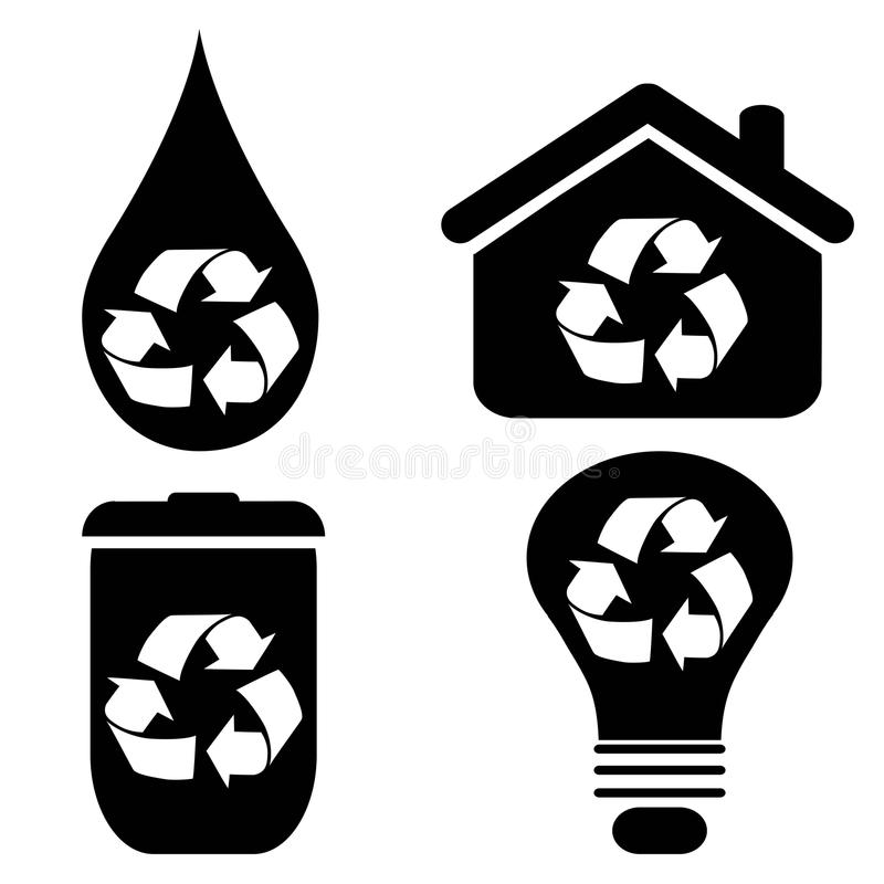 Recycle Symbol Icons Set Stock Vector Illustration Of Graphic
