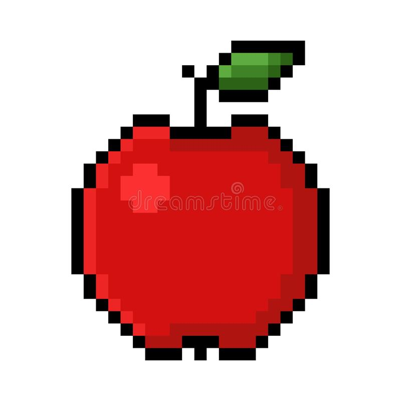Apple Pixel Art Stock Illustration. Illustration Of