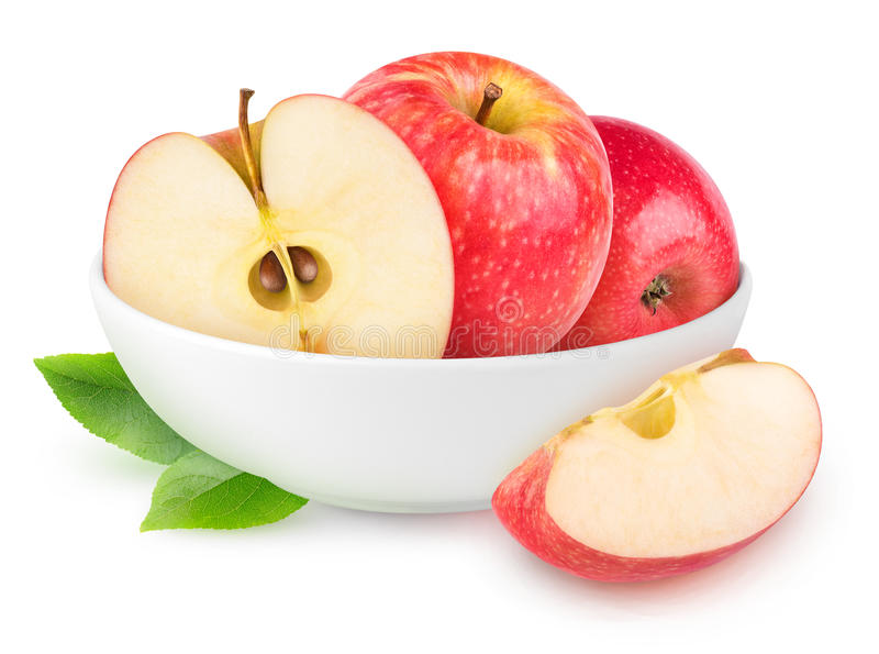 Isolated red apples in a bowl royalty free stock photo
