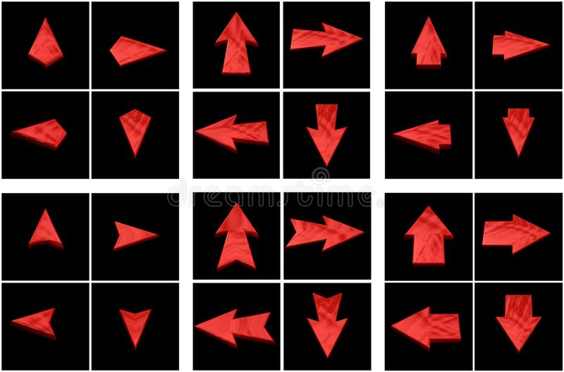 Isolated red arrows royalty free stock photos