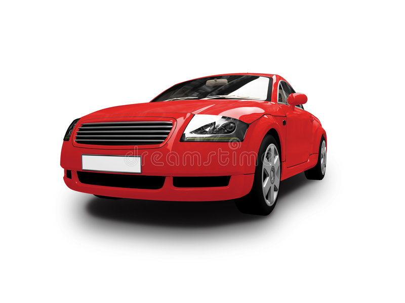 Isolated red car front view royalty free illustration