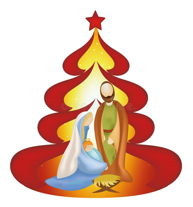 Christmas tree nativity scene with holy family Joseph Jesus Mary on red background royalty free illustration