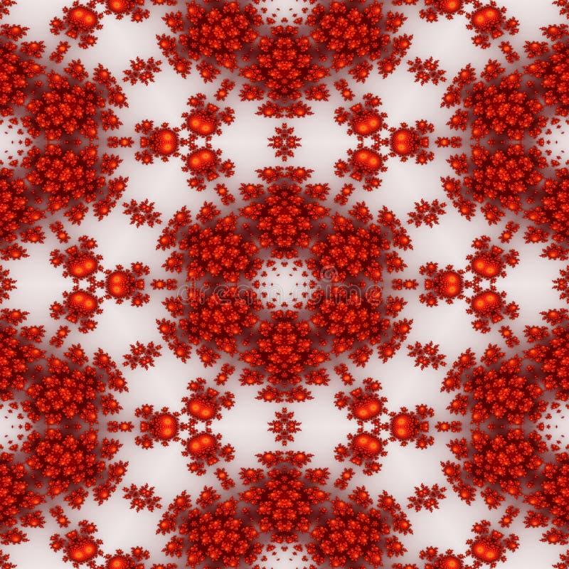 Isolated red orange fractal ornaments in white background. Red corner of frame. stock illustration
