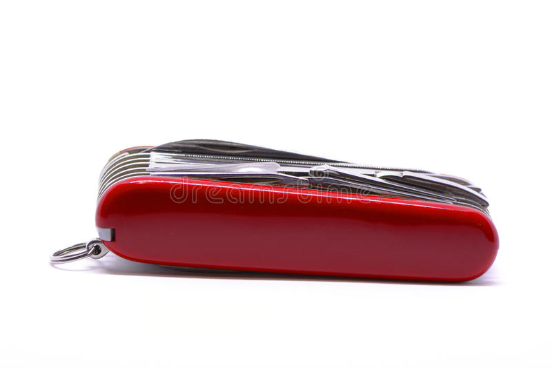 Isolated red pocket knife. Penknife, clasp knife on white background stock photography