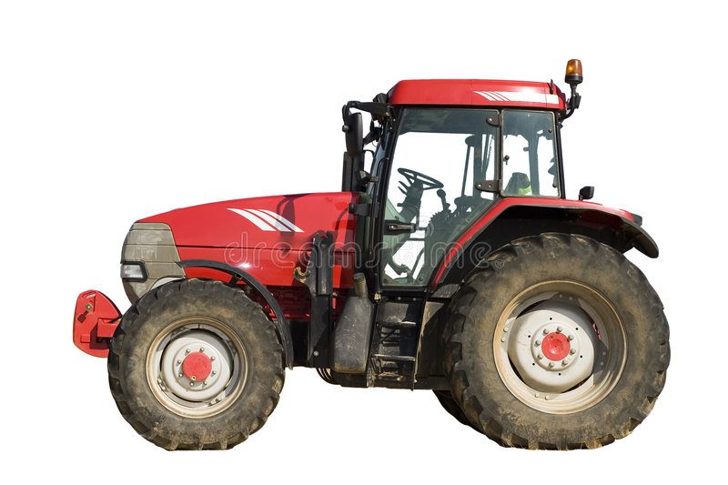 Isolated red tractor royalty free stock photos