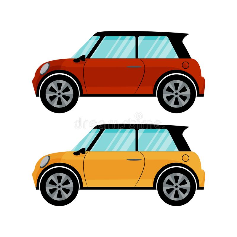 Isolated red and yellow cars in retro style on white background. Flat vector design royalty free illustration