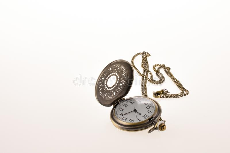Isolated retro styled pocket watch royalty free stock images