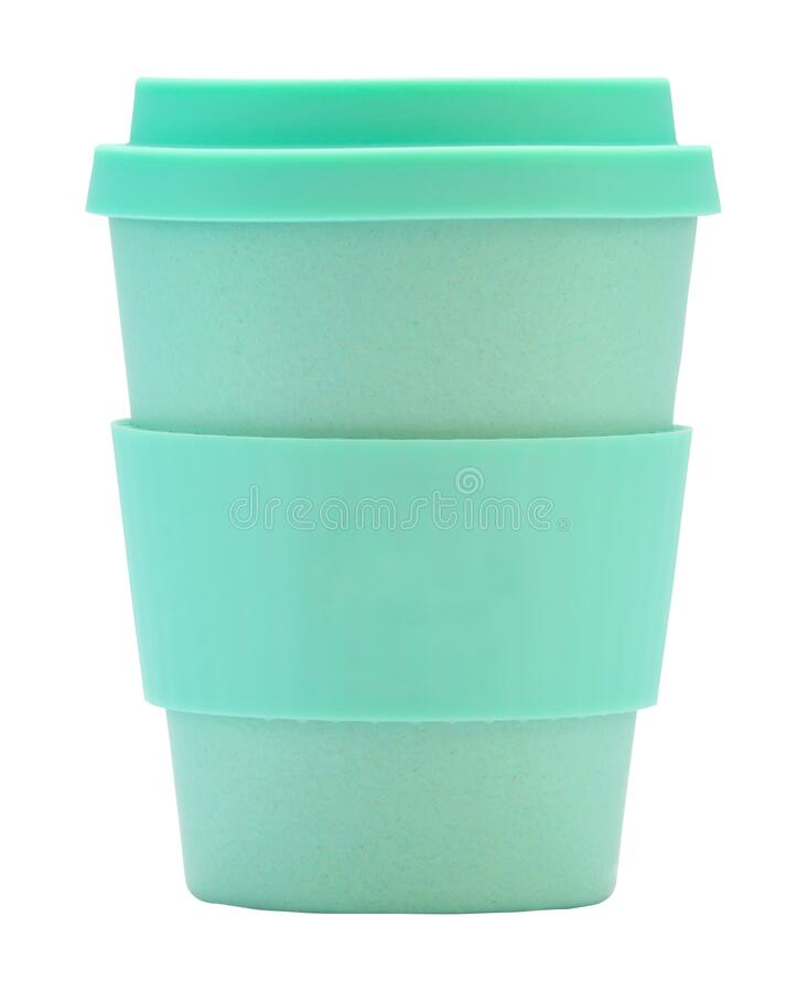 Isolated Reusable Coffee Cup. An Isolated Green Reusable Coffee Or Tea Cup On A White Background stock photography