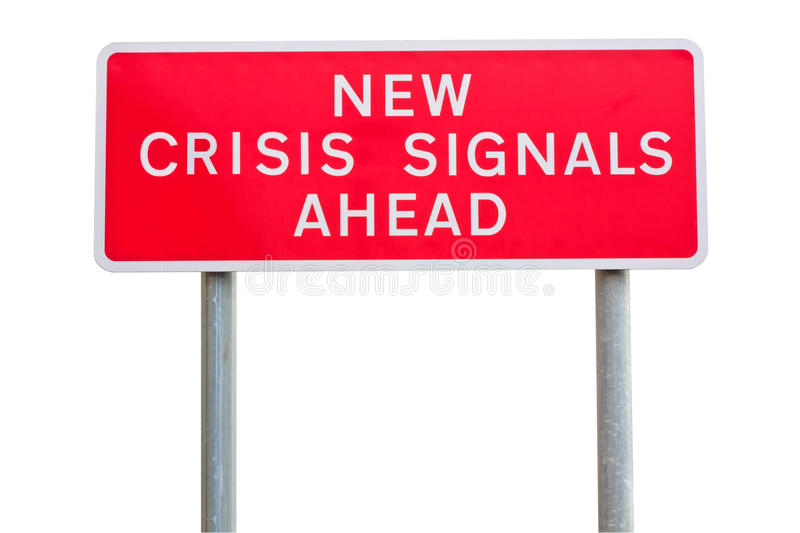 Crisis road sign. Isolated road sign warning about crisis, concept royalty free stock photography