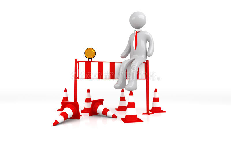 Isolated Roadblock with Businessman. On White Background
