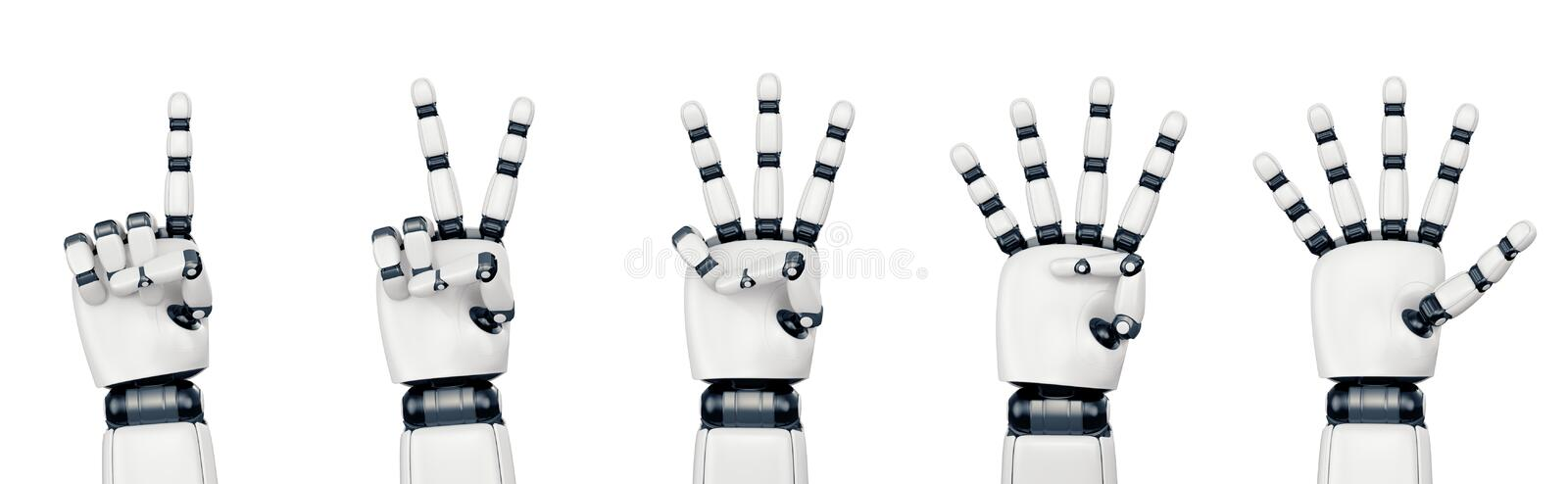 Isolated robot hand counting on white stock photography