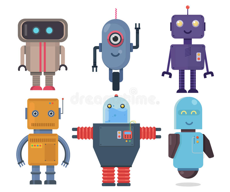 Isolated robot set. Collection future element icon character, cartoon robots.Flat vector illustration set. Isolated robot set. Collection future element icon vector illustration