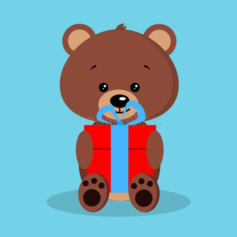 Isolated romantic cute baby brown bear in sitting pose with red gift and blue bow. Adorable character. Vector illustration in flat cartoon style stock illustration