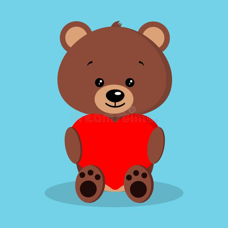 Isolated romantic cute and sweet baby brown bear. In sitting pose with red heart in paws on blue background. Adorable funny character in cartoon flat style stock illustration