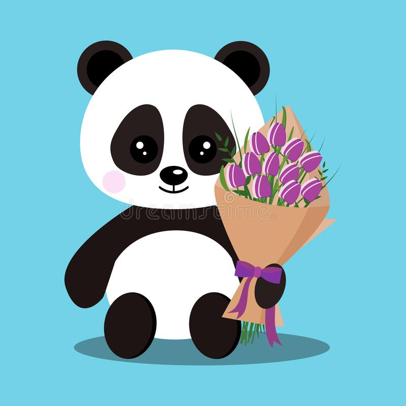 Isolated romantic sweet cute baby panda bear in sitting pose with bouquet. Of purple tulips in paw. Chinese symbol. Adorable funny character in flat cartoon vector illustration
