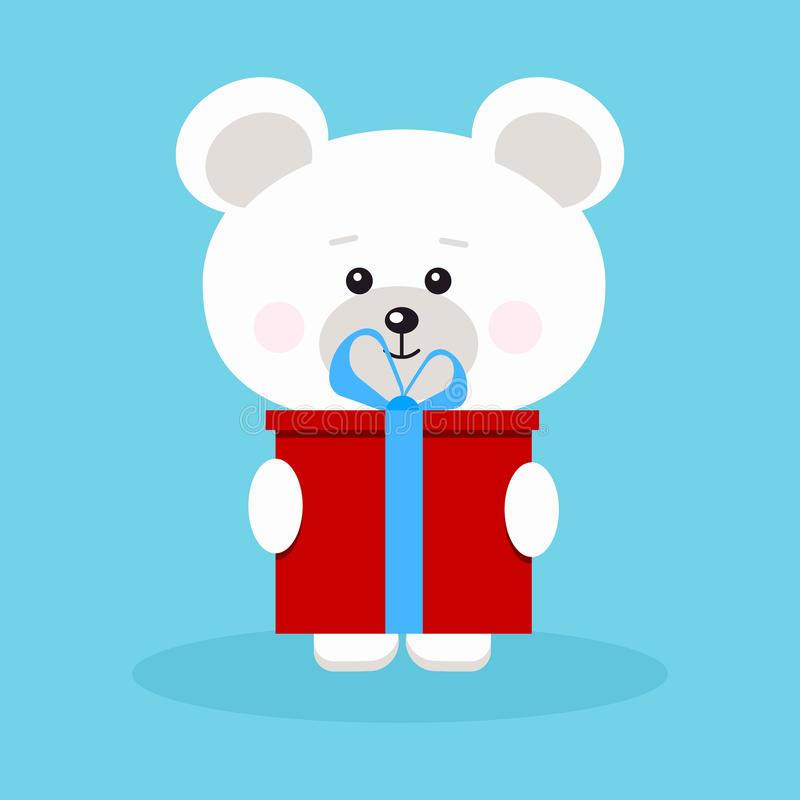 Isolated romantic sweet and cute baby polar bear with red gift. Isolated romantic sweet and cute baby polar bear in standing pose with red gift and blue bow vector illustration