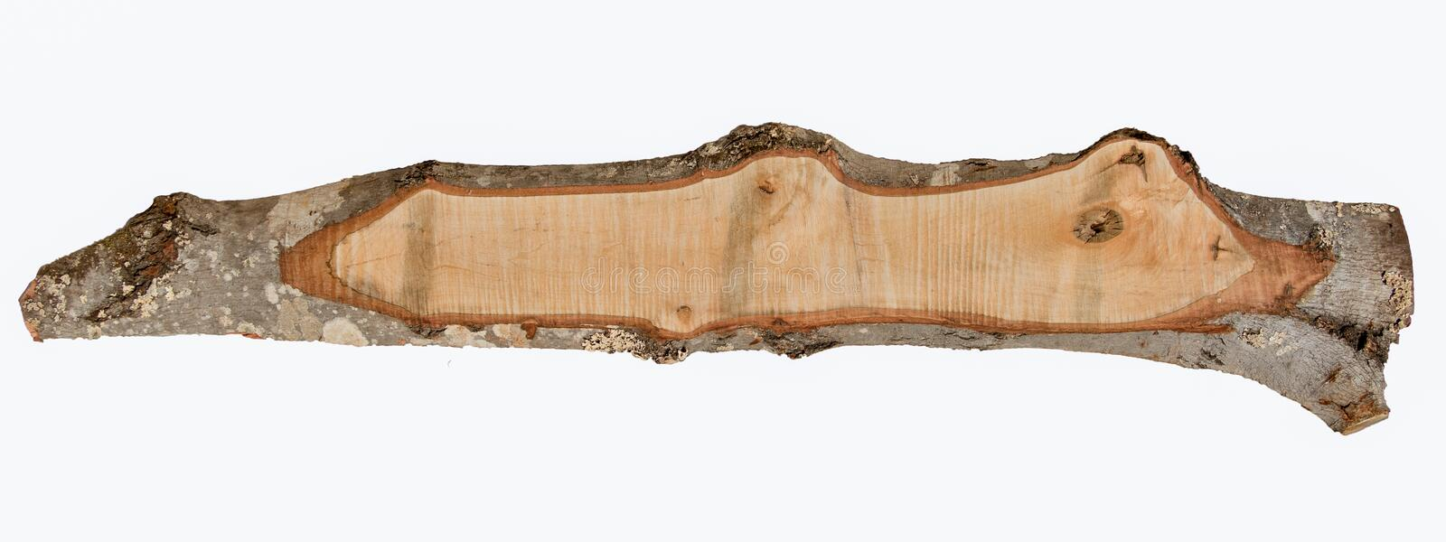 Isolated rough sawn red maple board with bark edge royalty free stock images