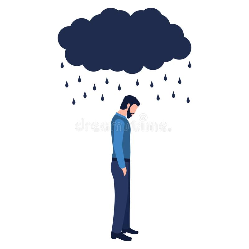 Isolated sad man under a cloud and rain on a white background. Concept of anxiety disorders, mental illness, stress and depression. Flat cartoon vector royalty free illustration