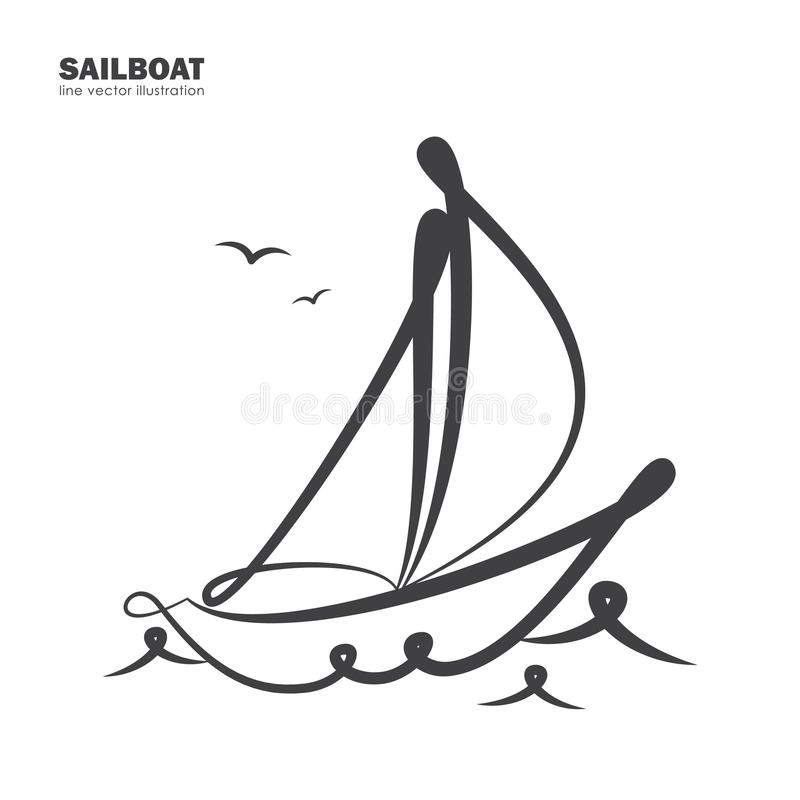 Free Isolated Sailboat On White Background. Line Design. Stock Photography - 109073442