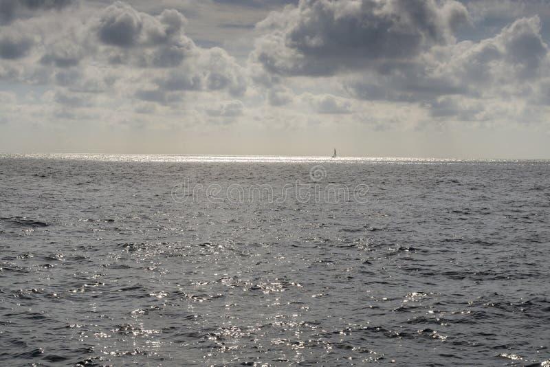 Isolated sailboat sailing to Florida Keys royalty free stock image