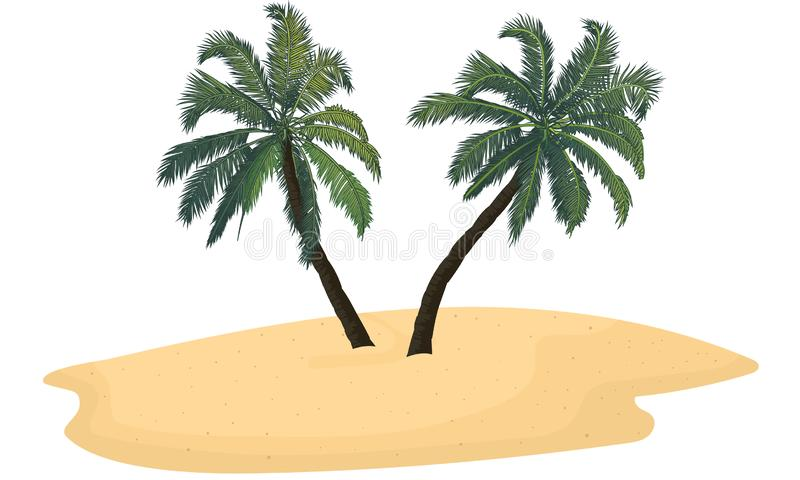 Isolated sand island with two palm trees. Vector art illustration vector illustration