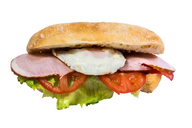 Isolated sandwich fried egg, ham fresh vegetables royalty free stock photos