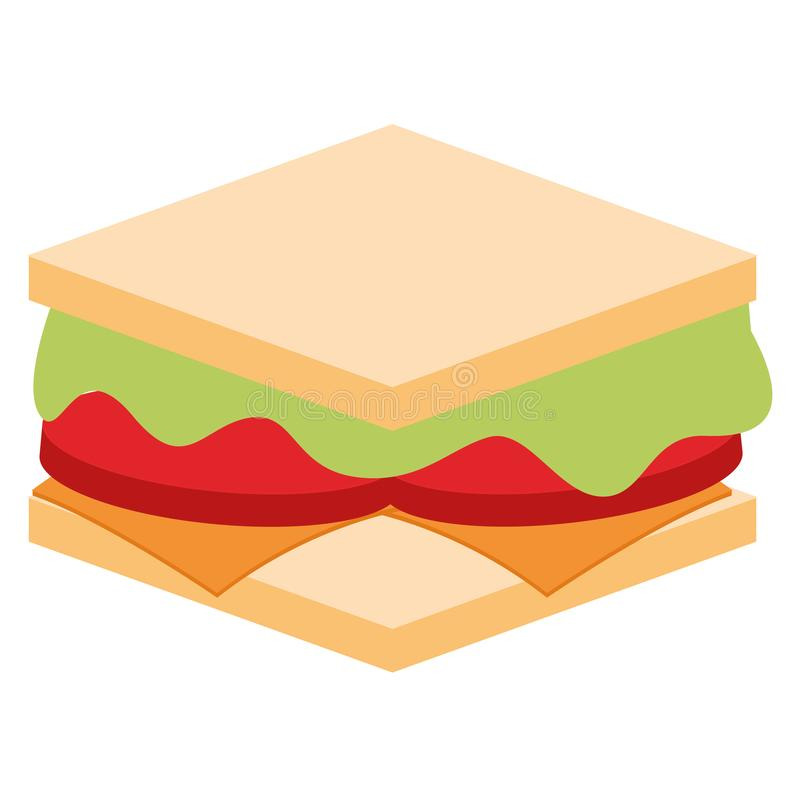 Isolated sandwich image. Over a white background - Vector royalty free illustration