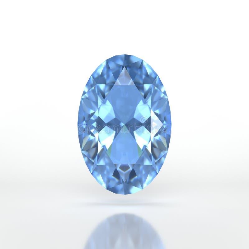 Isolated saphire on white background. Blue saphire stone on white background stock illustration
