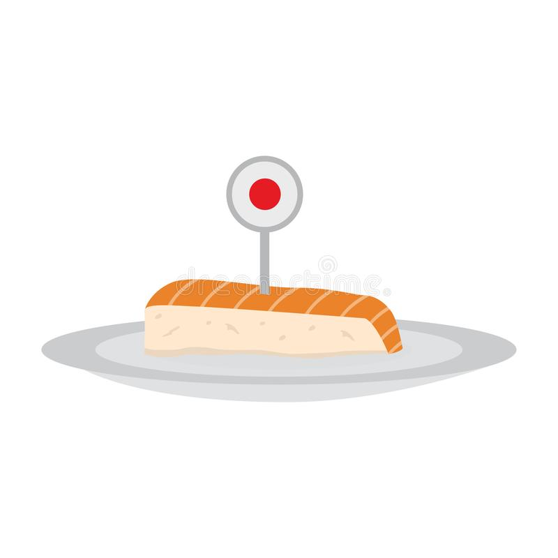Isolated sashimi image. Isolated sashimi with a flag of Japan. Traditional japanese food - Vector stock illustration