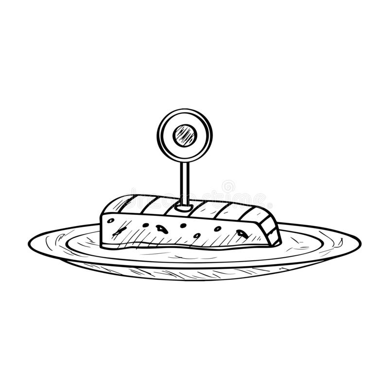 Isolated sashimi - Outline. Isolated sashimi with a flag. Traditional japanese food - Outline Vector stock illustration