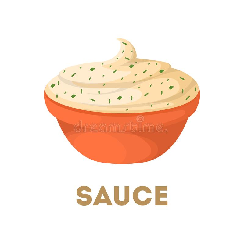 Isolated sauce in bowl. royalty free illustration