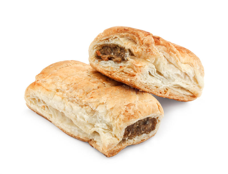 Isolated sausage rolls stock photos