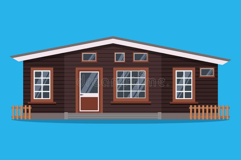 Isolated scandinavian rural wood country house with fences in flat cartoon style vector illustration