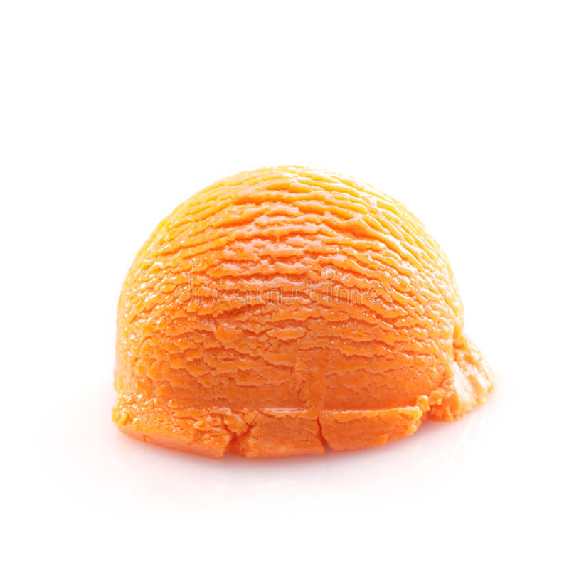 Isolated scoop of orange ice cream stock photography