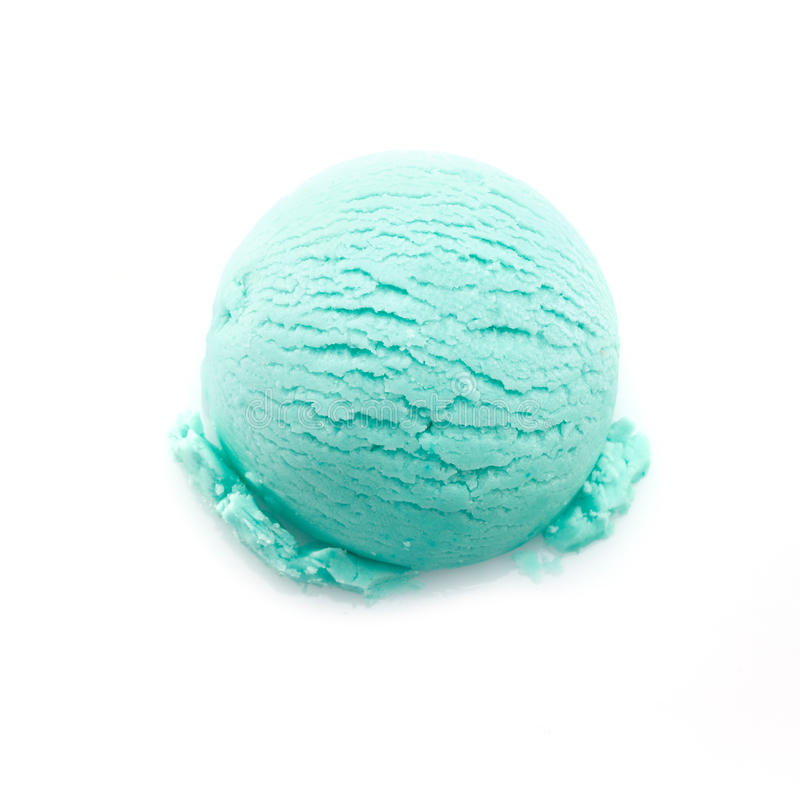 Isolated scoop of turquoise ice cream royalty free stock image