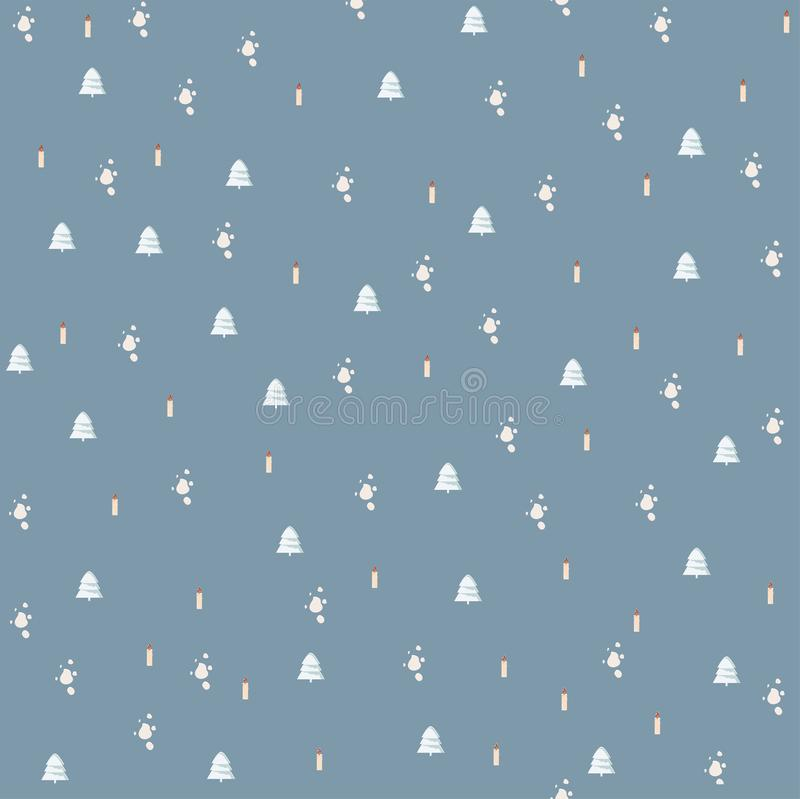 Isolated seamless New Year festive pattern with Christmas tree a cute Christmas mood stock illustration