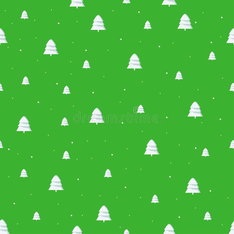Isolated seamless new year festive pattern with cute christmas tree, on bright green background vector illustration