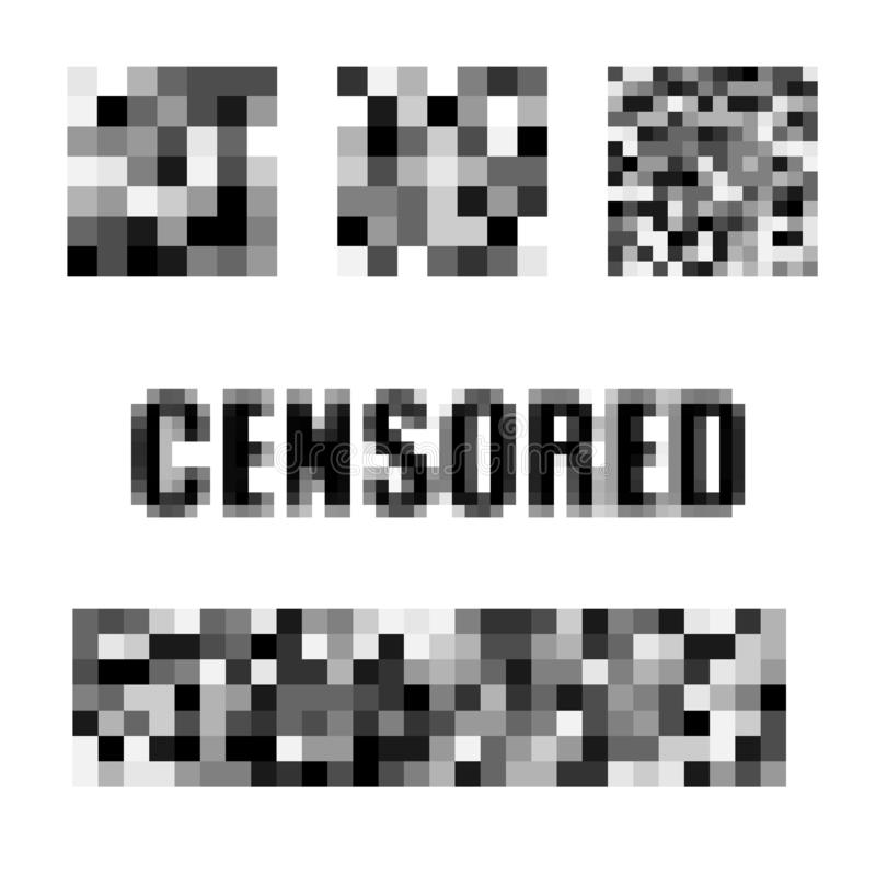 Isolated Set of censor bar. Censored signs concept. Pixel censored vector template. Censorship rectangle. Black censor. Bar. Censorship rectangle stock illustration