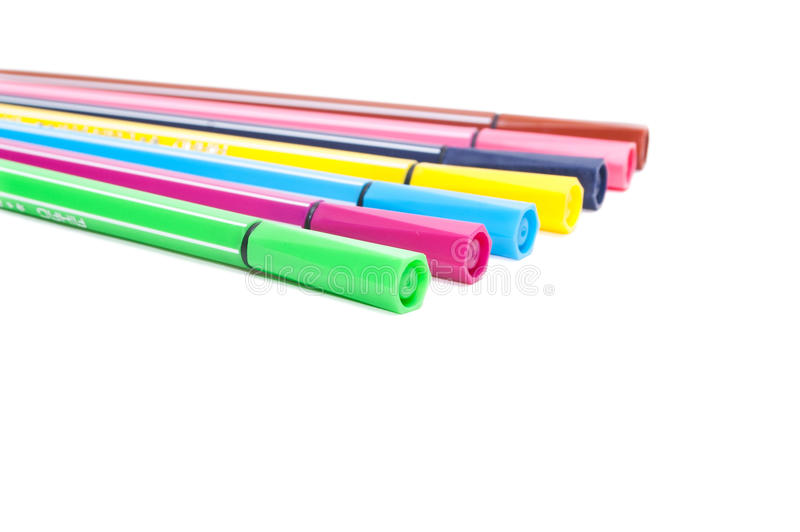 Download Isolated Set Of Colored Felt-tip Pens On White Stock Image - Image: 28977983