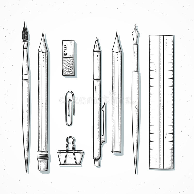 Isolated set stationery handmade in sketch style. Writing items. Isolated set of stationery handmade in sketch style. Sketch of writing items. Writing items for vector illustration