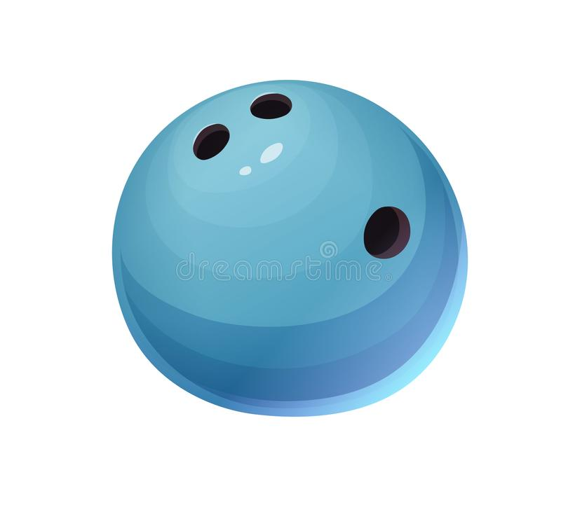 Isolated shiny blue bowling ball in cartoon style. On white background. Vector royalty free illustration