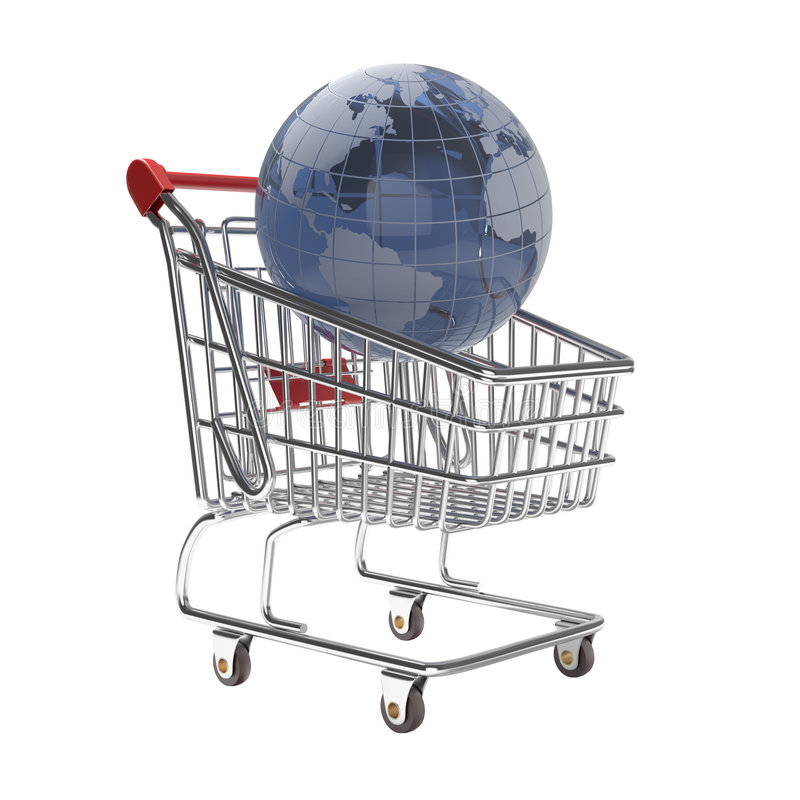 Isolated shopping cart with glass globe world. Isolated concept of shopping cart with a globe world made of glass stock image