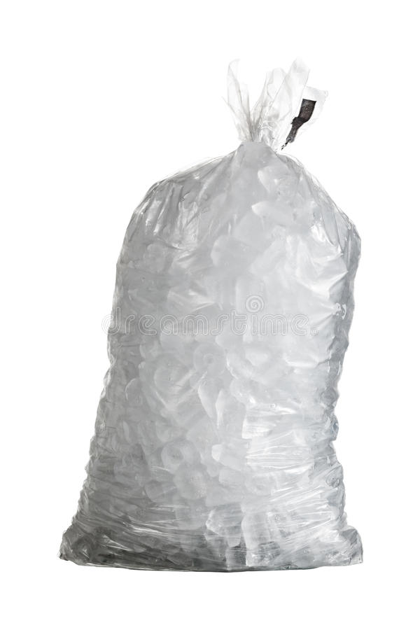 Isolated shot of bag of ice stock photo