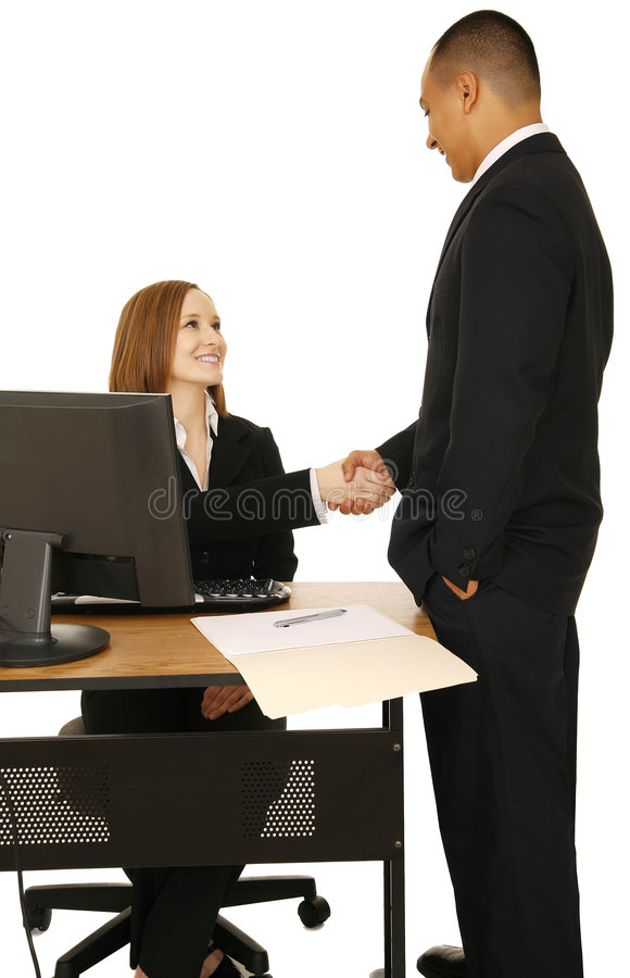 Isolated Shot Of Business People Make A Deal stock images