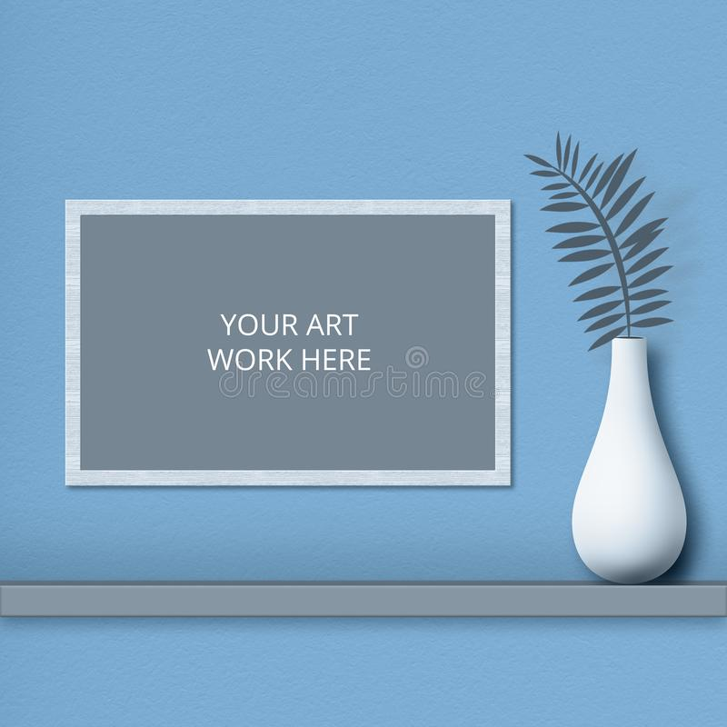Isolated shot of frame with blank space for your artwork on blue wall, white vase with fern near. Horizontal shot. Decoration. stock photography